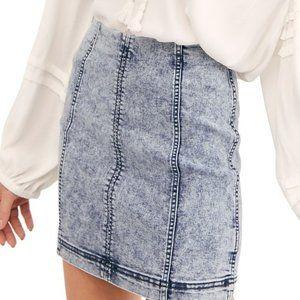 NWT Free People Modern Femme Acid Wash Denim Skirt